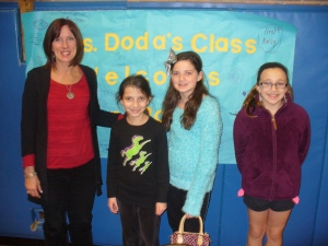 Karen Bonnet is pictured with students, Holly McGullam, Isabella Lewin and Abigail Clarke from Forest Brook Elementary School.